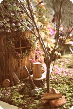 ♧ Charming Fairy Cottages ♧ garden faerie gnome & elf houses & miniature furniture -  Fairy Wood Cutter