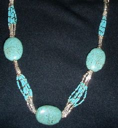 Native American Beaded Necklace of Turquoise and Seed Beads