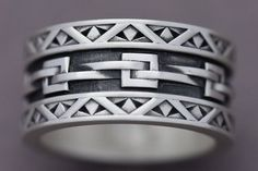 Woven Links Sterling Silver Ring Statement Ring Men's