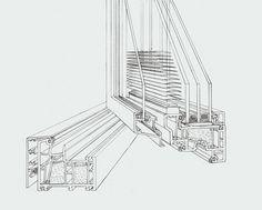 Detailzeichnung unseres Kunststoff-Aluminium-Fensters Shadow von Fenster-Schmidinger aus Gramastetten in Oberösterreich. Dieses Fenster zeichnet sich besonders dadurch aus, dass sich der Sonnenschutz im Glaszwischenraum befindet! #Fenster #PVC #Alu #Shadow #Fensterschmidinger Montage, Detailed Drawings, Solar Shades