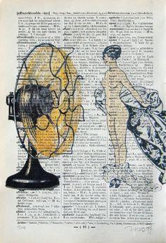 MIA original ARTWORK mixed media illustration painting by artretro, $10.00