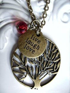 1 x live laugh love charm and tree of life necklace bronze tone necklaces - by createddesignsbyrina on madeit