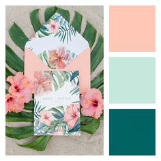 Pastel Tropical Wedding in hues of: peach, coral, mint, aquamint, teal, and peacock