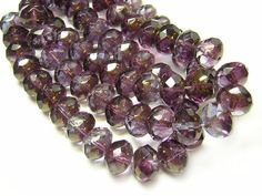Czech Firepolished Beads 6x10mm Golden Amethyst by GR8BEADS (Craft Supplies & Tools, Jewelry & Beading Supplies, Beads, Czech Glass Beads, firepolished, faceted, rondelle, fire polished, earring beads, jewelry beads, picasso beads, amethyst, lilac, purple, 6x10 10x6, large rondelles)