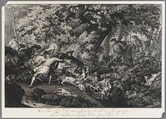 JOHANN ELIAS RIDINGER (1698 – 1767)  Deer hunt - Štvanice na jelena, 1745, lept, papír; 539 × 752 mm, Arcibiskupství olomoucké – Arcidiecézní muzeum Kroměříž