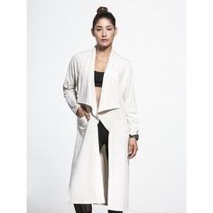 LANSTON Drape Trench (8,950 INR) ❤ liked on Polyvore featuring outerwear, coats, white trench coat, drape coat, draped trench coat, white coat and trench coat