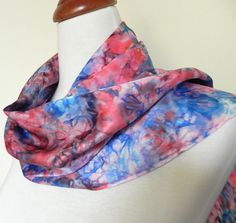Silk Scarf Hand Dyed Silk Satin in Vibrant Reds by RosyDaysScarves, $45.00