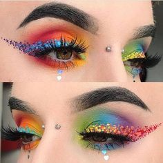WOW WOW kaytee voce created this AMAZING rainbow makeup art look. Check out that… - Eyeliner Creative Eye Makeup, Colorful Eye Makeup, Eye Makeup Art, Makeup Inspo, Eyeshadow Makeup, Makeup Inspiration, Eyeliner, Makeup Ideas, Crazy Makeup