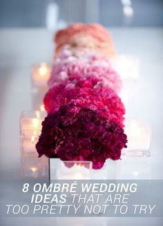 Here, we've picked the 8 prettiest ombré wedding ideas so you can have a hay day with ombré! http://www.colincowieweddings.com/inspiration-and-details/8-ombre-wedding-ideas-that-are-too-pretty-not-to-try