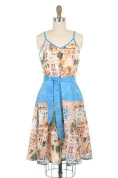 Placement print sundress with adjustable straps, a-line skirt and inseam side pockets. Fully Lined - Cotton, Lining: Rayon - Imported