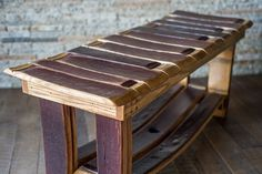 Bench made from wine barrel staves by Alpine Wine Design.