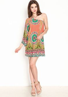 Bloom bright in this pretty dress! One shoulder woven dress in a colorful garden print and soft, silky form. Loose and light, with a sweeping bell sleeve. Looks cute with bold earrings and strappy sandals!  http://foxyblu.com/details/102624