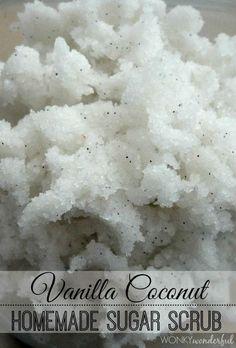 Easy Homemade Body Scrub: Vanilla Coconut - Sugar Scrub is the perfect last minute homemade gift idea! wonkywonderful.com