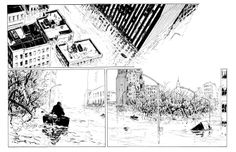 Two double-page spreads (4-5 and 6-7) in James Romberger's Post York  James Romberger & Crosby