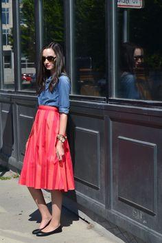 midi skirt & chambray shirt / Flyover Fashion