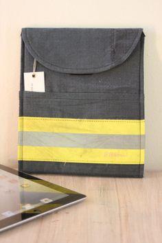 Recycled Firefighter Bunker Gear iPad cover, iPad sleeve, Reskü / color dark blue