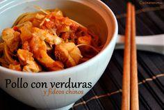 Cocina Varoma: Pollo con verduras y fideos chinos