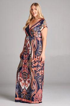 Rihanna Royal Paisley Plus Size Maxi Dress