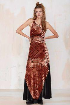 Line & Dot Ziggy Burnout Velvet Maxi Dress