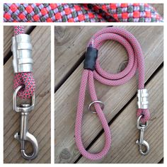 Pink Climbing Rope Dog Leash. Custom lengths and choice of carabiner or stainless steel clip. Designed for the big dogs. http://mydogscool.com/store/leashes/pink-dog-leash/