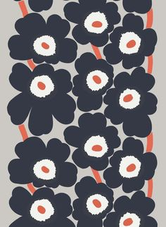 Unikko cotton-linen fabric by Marimekko Marimekko Wallpaper, Marimekko Fabric, Pattern Wallpaper, Textile Patterns, Textile Design, Print Patterns, Floral Patterns, Textiles, Floral Fabric