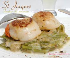 St Jacques poêlées et leur fondue de poireaux