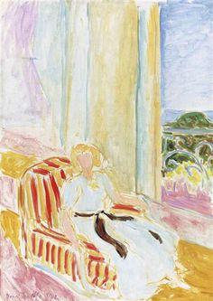 Henri Matisse, Jeune fille en robe blanche, assise près de la fenêtre