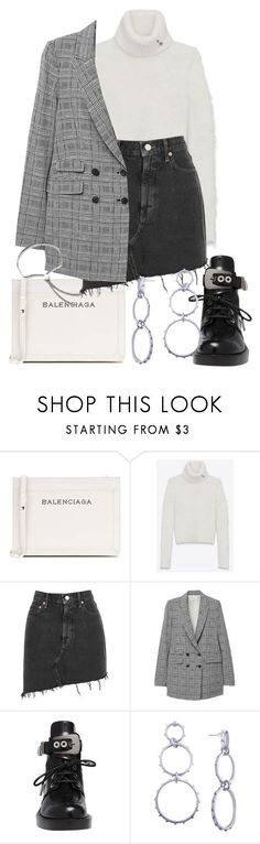 """""""Untitled #2641"""" by mariie0h ❤ liked on Polyvore featuring Balenciaga, Yves Saint Laurent, AGOLDE and Monica Vinader"""
