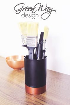 DIY project: renew with copper spray! This pencil box made from toothbrush holder.