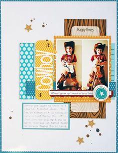 "#papercraft #scrapbook #layout   Bella Blvd. ""Cowboy"" layout by Leanne Allinson for Bella Blvd."