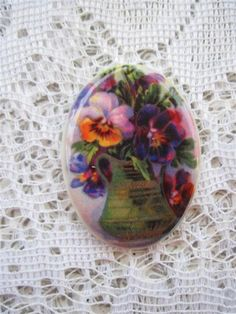 Pretty Pansies in a Vase Very Victorian Very by mosaicsbyshell, $3.25