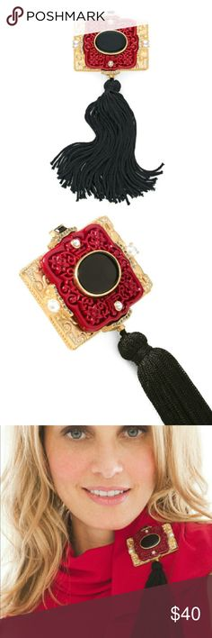 """Red Tassel Pin Elegant tassel pin in an etched Chinese red & gold design.   Black stone, rhinestone & pearl accents. Beautiful tassel detail. Metal, nylon, acrylic/glass.   Dimensions:  Brooch: 2 1/2"""" w x 1/2"""" l    Tassel: 4""""  NO Trade / NO Paypal Accessories"""