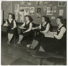 Four students attending a history class, at Emma Willard School, 1939. #vintage #school #1930s