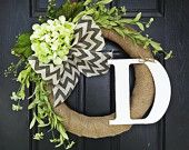 Spring and Summer Burlap Wrapped Wreath Featuring Green Wildflowers, Green Hydrangea and Chevron Burlap Bow, With White Monogram