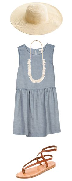denim sundress, white wide brim hat, sandals, statement necklace