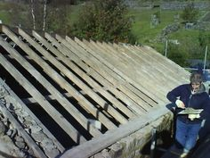 Strip and recover of stone slate roof to barn by Derry Construction Ltd. Silver Hill Pateley Bridge Harrogate 2008