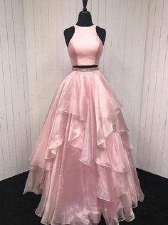 Pink prom dresses, long prom dresses, two pieces prom dresses ,beautiful evening gowns Two Piece Evening Dresses, Beautiful Evening Gowns, Cheap Evening Dresses, Beautiful Prom Dresses, Cheap Prom Dresses, Pretty Dresses, Prom Dresses Long Pink, A Line Prom Dresses, Pink Dresses