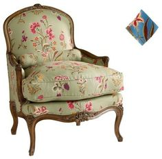 Brissac Bergere , Jardin D'Ete, Blue - French Country - Pierre Deux traditional armchairs
