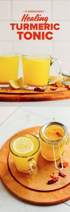 3 ingredient turmeric ginger tonic: but what if you.added a shot or two of whiskey! Turmeric Drink, Turmeric Recipes, Tumeric Shots, Turmeric Lemonade, Turmeric Detox, Ginger Lemonade, Turmeric Root, Milk Shakes, Baker Recipes