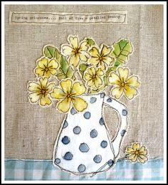 Loopy's primroses! Beautiful simple use of freemotion embroidery and appliqué