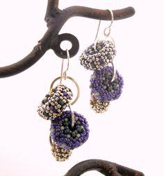 Grape Vine Cascade Earrings  beaded beads  purple by TheBeadedBead, $45.00