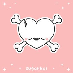 Just so you know, I watch you while you sleep. A creepy cute animated heart shaped skull and crossbones gif from sugarhai.