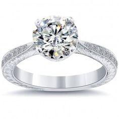 2.24 Carat G-SI1 Certified Natural Round Diamond Engagement Ring 18k White Gold