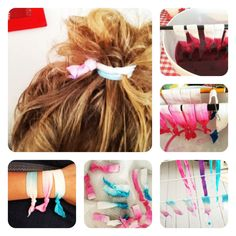 I just made myself sone DIY hair ties! All you'll need is tie dye and white elastic fold over ribbon! Make sure you wear gloves!