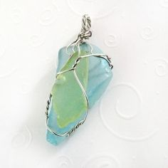 Cultured Sea Glass Pendant - Lime, Aqua & Silver, Wire Wrapped Layered Jewelry