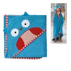 Cartoon Print Infant Toddler Blue Animal Hooded Bath Robe