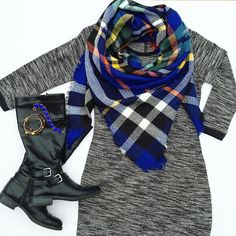 So, it's currently in the single digits here ❄️ so it seems like a great time to bust out this sweatshirt dress I bought last year, but haven't worn yet, and a new blanket scarf #gimmealltheblanketscarves  dress #oldnavy / scarf #simpleaddiction / boots #ninewest / bracelets #veryjane and #alexandani // Teacher style. Teacher fashion. Oneteachersstyle