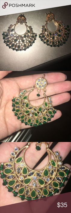 Gorgeous Bollywood style green earrings Beautiful bling to add onto your outfit! Adds a really nice touch to any look! Jewelry Earrings