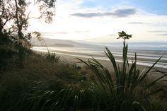 A beautiful beach and the ocean on the Abel Tasman Coastal Track in New Zealand.