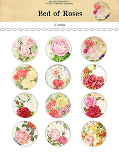 Digital vintage floral circles collage sheet / by KBandFriends.